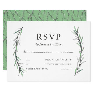 Wild Rosemary Botanical Wedding RSVP Card
