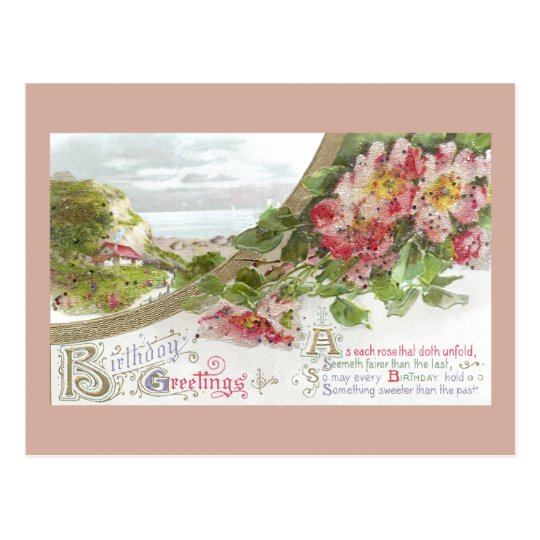 Wild Roses and Vignette Vintage Birthday Postcard