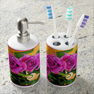 Wild Roses Toothbrush Holder & Soap Dispenser Set