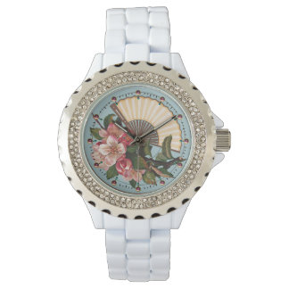 WILD ROSES WITH FAN Pink Blue Floral Watch