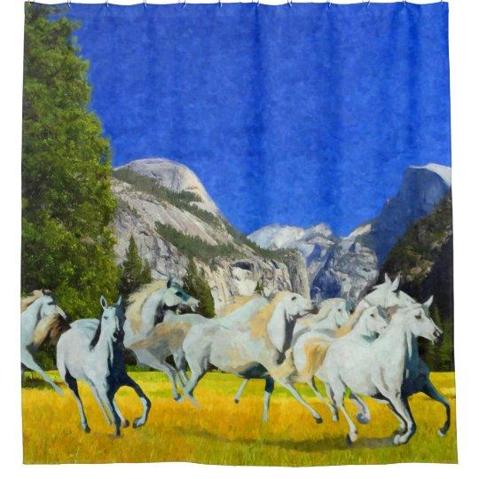 Wild Running Horses in Yosemite National Park