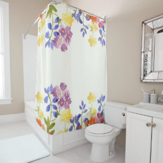 Wild Scottish Watercolour Floral Shower Curtain