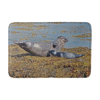 Wild Seal with Pup Animal Scottish Highlands Bath Mat
