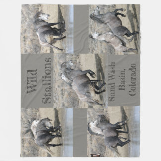 Wild Stallions of  Sand  Wash Basin Fleece Blanket
