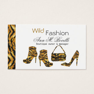 Wild Stripes Cougar Fashion Boots Designer Business Card