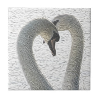 Wild Swans Heart Couple Art Tile
