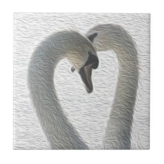 Wild Swans Heart Couple Art Tiles