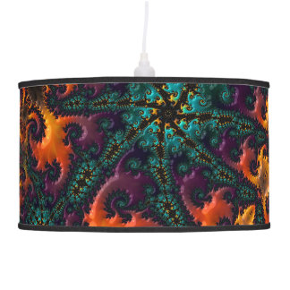 Wild Teal, Purple, Orange, and Yellow Fractal Pendant Lamp