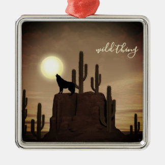 wild thing ~ Full Moon Wolf Howling Desert Cactus Metal Ornament