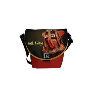 """""""Wild Thing"""" Quote Cute Fun Silly Face Photo Mini Messenger Bag"""