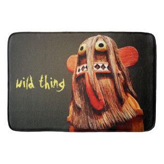 """Wild Thing"" Quote Cute Silly Funny Odd Face Photo Bath Mat"