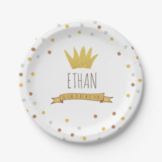 Wild Things Gold crown First birthday Paper Plates