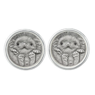 WILD THINGS: Silver Hedgehog Round Cufflinks