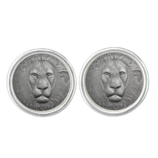 WILD THINGS: Silver Lions Head Round Cufflinks