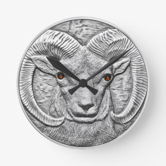 WILD THINGS: Silver Ram Round Wall Clock