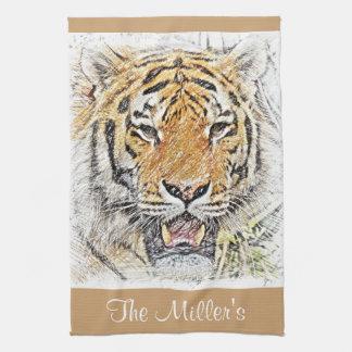 Wild Tiger Sketch - Safari Theme - Personalized Kitchen Towel