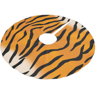 Wild Tiger Stripes Pattern Brushed Polyester Tree Skirt