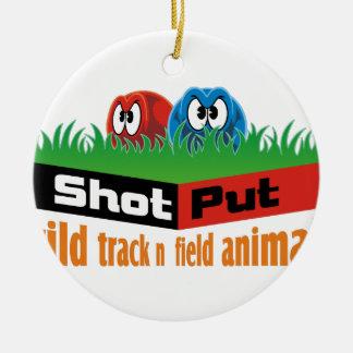 Wild track and field animals round ceramic ornament