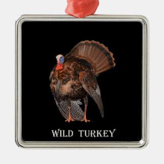 Wild Turkey (Alabama, Massachusetts, Oklahoma) Silver-Colored Square Ornament