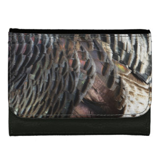 Wild Turkey Feathers I Abstract Nature Design Leather Wallets