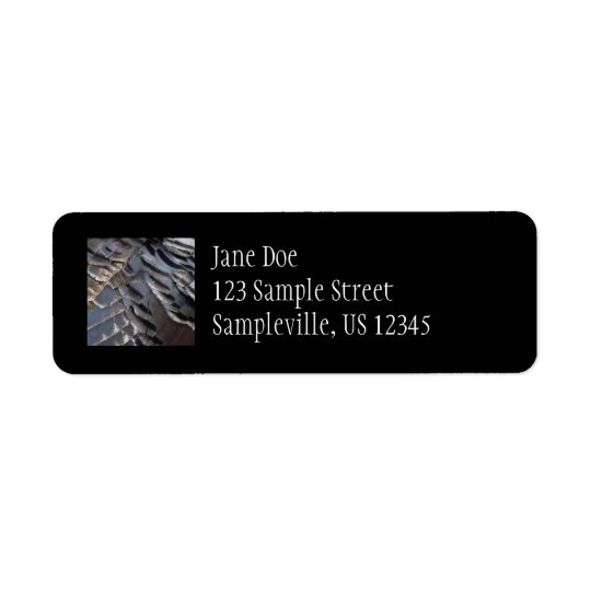 Wild Turkey Feathers II Abstract Nature Design Return Address Label