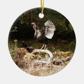 Wild Turkeys Ceramic Ornament