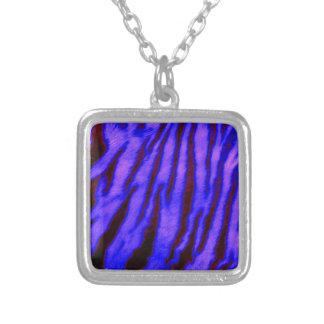 Wild & Vibrant Blue Tiger Stripes Silver Plated Necklace