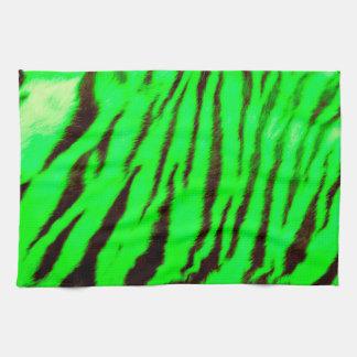 Wild & Vibrant Green Tiger Stripes Hand Towels