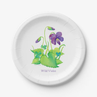 Wild Violet Paper Plates - Botanical Watercolor 7 Inch Paper Plate