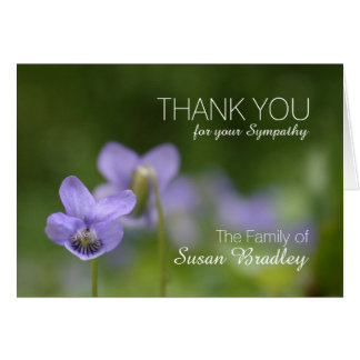 Wild Violets Sympathy Thank You Note Card