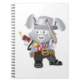 Wild West Bunny Spiral Note Book