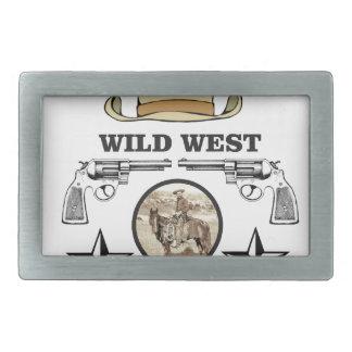 wild west cowboy art rectangular belt buckle