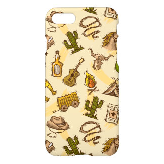 Wild west cowboy colored with guitar and cactus iPhone 8/7 case