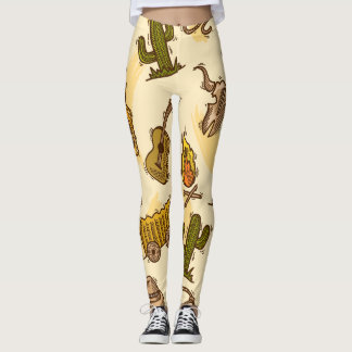 Wild west cowboy colored with guitar and cactus leggings