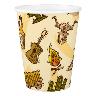 Wild west cowboy colored with guitar and cactus paper cup