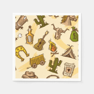 Wild west cowboy colored with guitar and cactus paper napkins