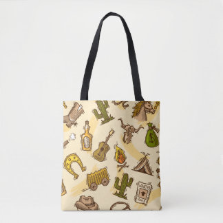 Wild west cowboy colored with guitar and cactus tote bag