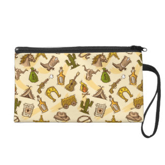 Wild west cowboy colored with guitar and cactus wristlet clutch