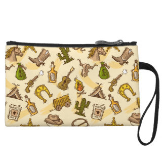 Wild west cowboy colored with guitar and cactus wristlet purses