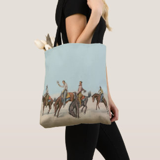 Wild West Cowboys On Bucking Horses Tote Bag