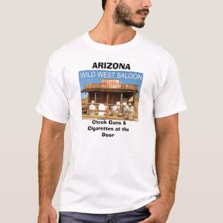 WILD WEST SALOON, ARIZONA, Check Guns & Cigarette. T-Shirt