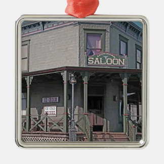 Wild West Saloon Silver-Colored Square Ornament