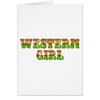 Wild West Western Girl Orange & Green Cowgirl Card