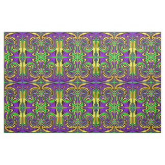 Wild Wet Paint Green Purple and Yellow Abstract Fabric