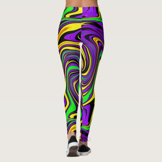 Wild Wet Paint Green Purple and Yellow Abstract Leggings