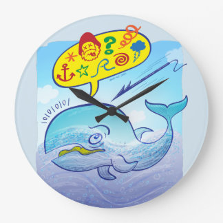 Wild whale saying bad words while fleeing harpoon large clock