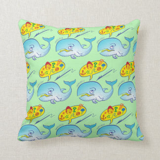 Wild whale saying bad words while fleeing harpoon throw pillow