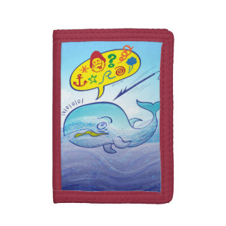 Wild whale saying bad words while fleeing harpoon tri-fold wallet
