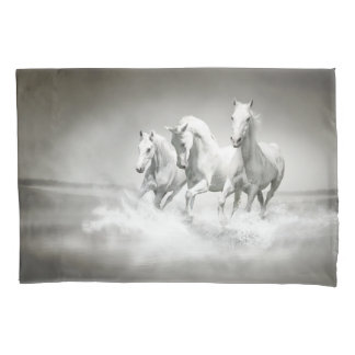 Wild White Horses (1 side) Pillowcase