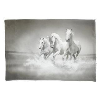 Wild White Horses (2 sides) Pillowcase